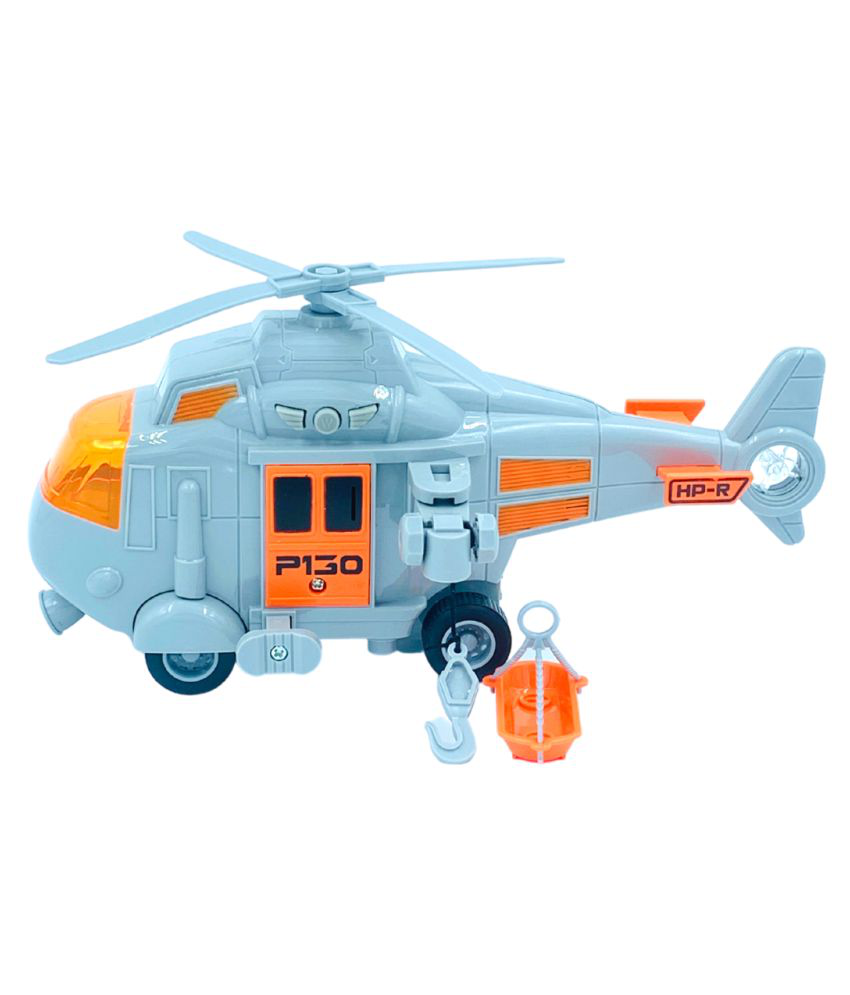 Military Helicopter, Airforce Airplane Toy with Hanging Basket Lights and Sounds for Kids(Grey)