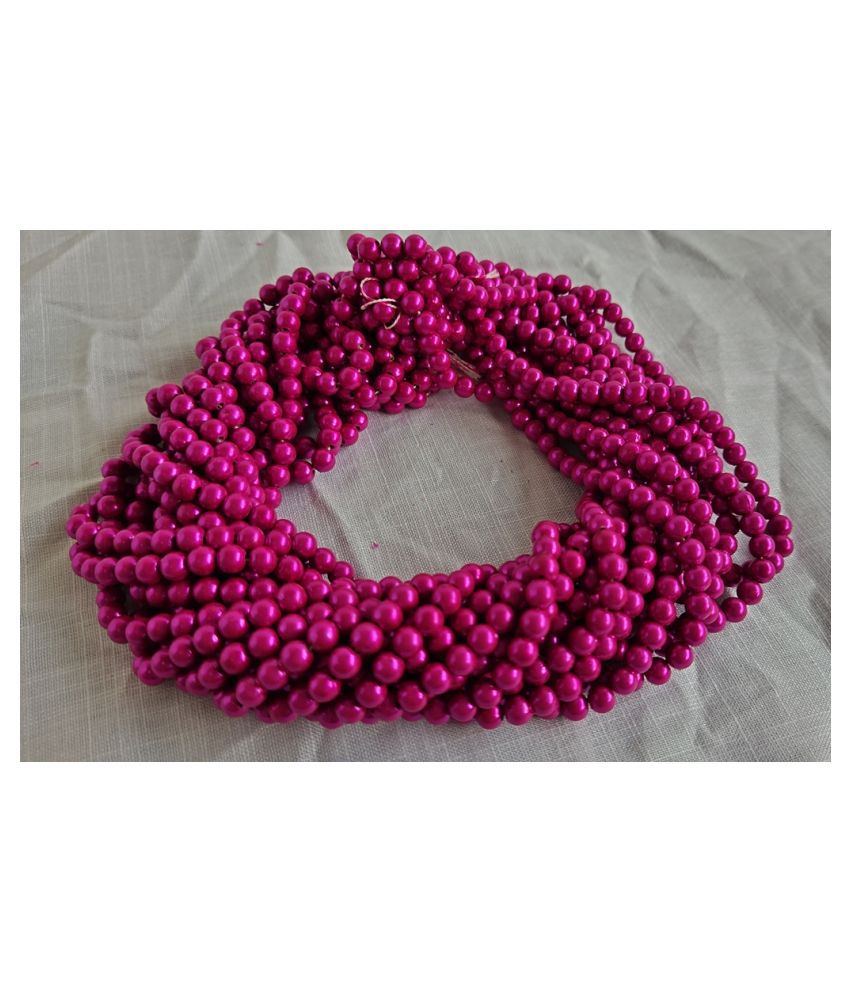 500pcs Round Color Beads for Jewellery Making & Embroidery (Dark Pink, 10mm)