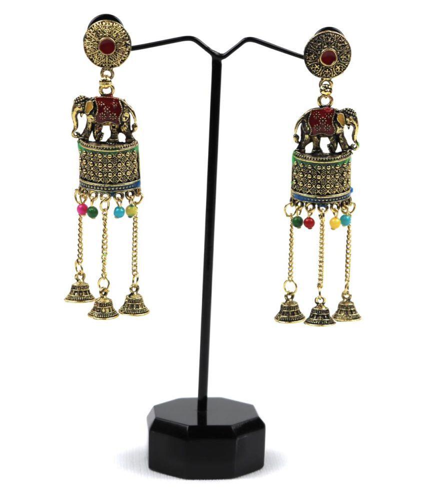 Maya Ghar Oxidised Elephant Design Jhumki Earrings for Women/Girls