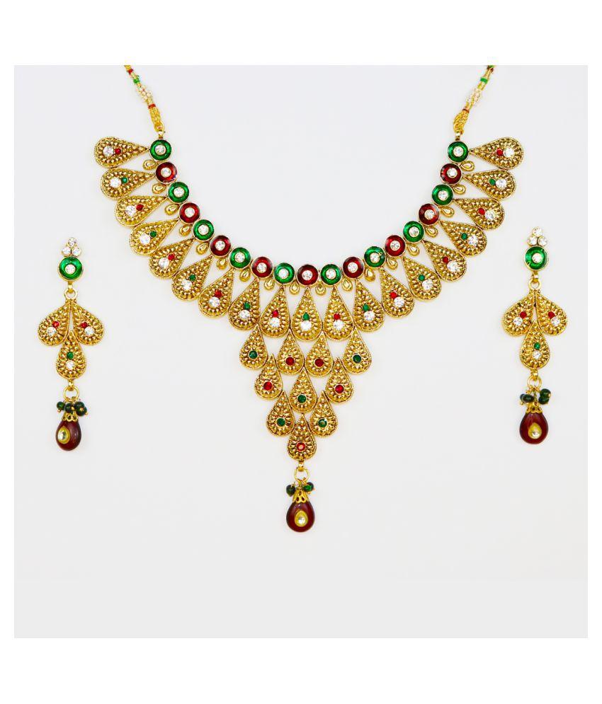 Abhiroopa Alloy Golden Princess Designer Gold Plated Necklaces Set