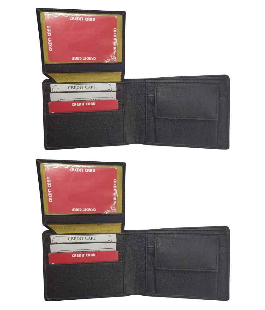 EBEZA PU Black Formal Regular Wallet