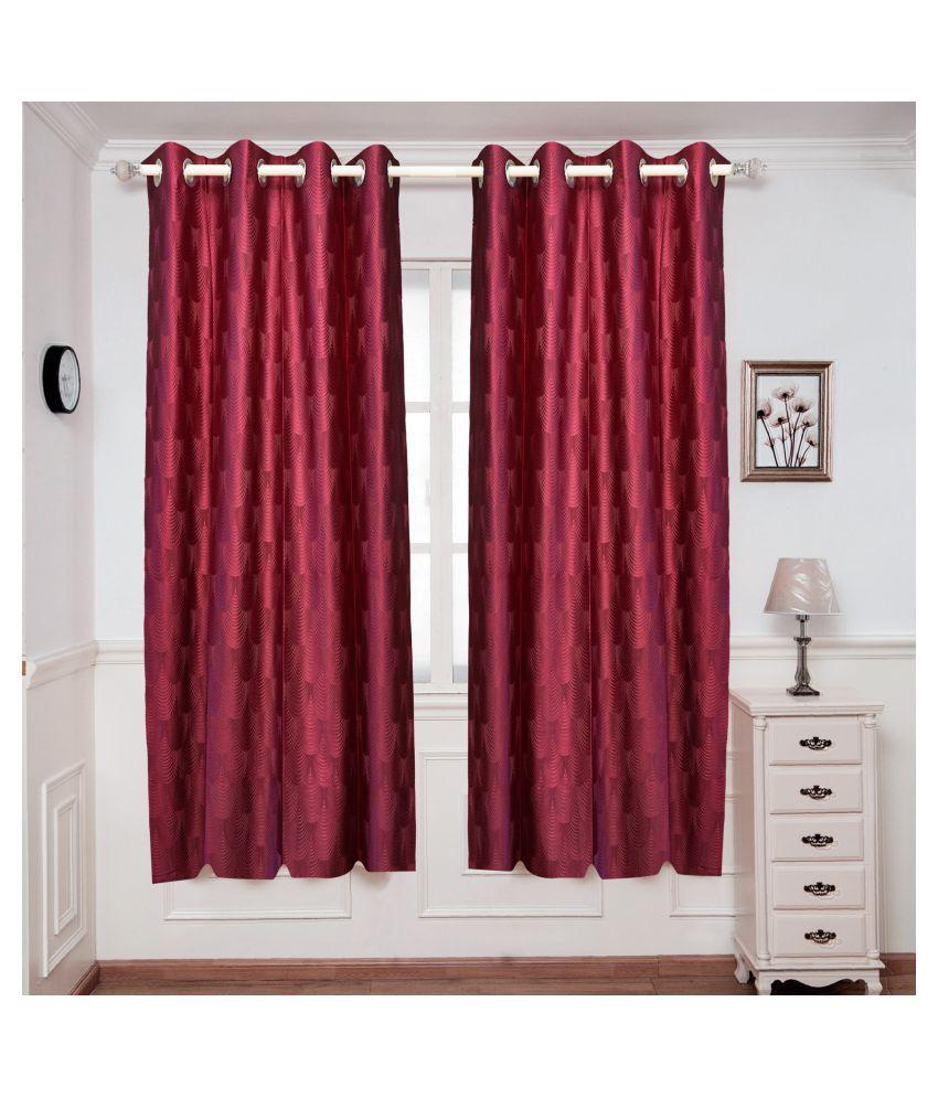 gold decor Single Window Semi-Transparent Eyelet Polyester Curtains Maroon