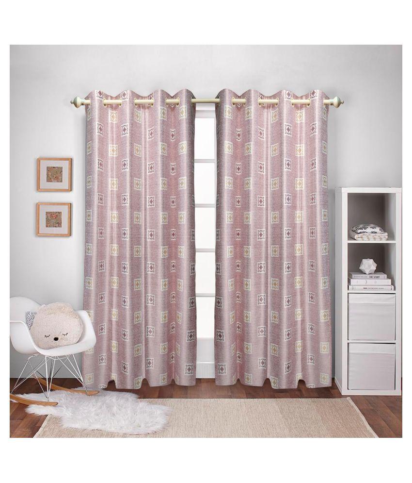 gold decor Single Window Semi-Transparent Eyelet Polyester Curtains Light Pink