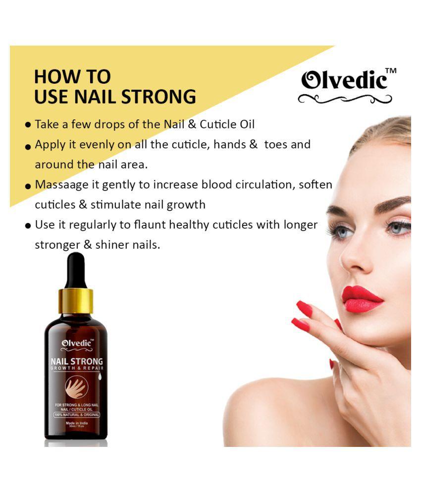 olvedic 100% Pure Nails Strong Oil Cuticle Nail Polish Yellow Glossy 30 mL
