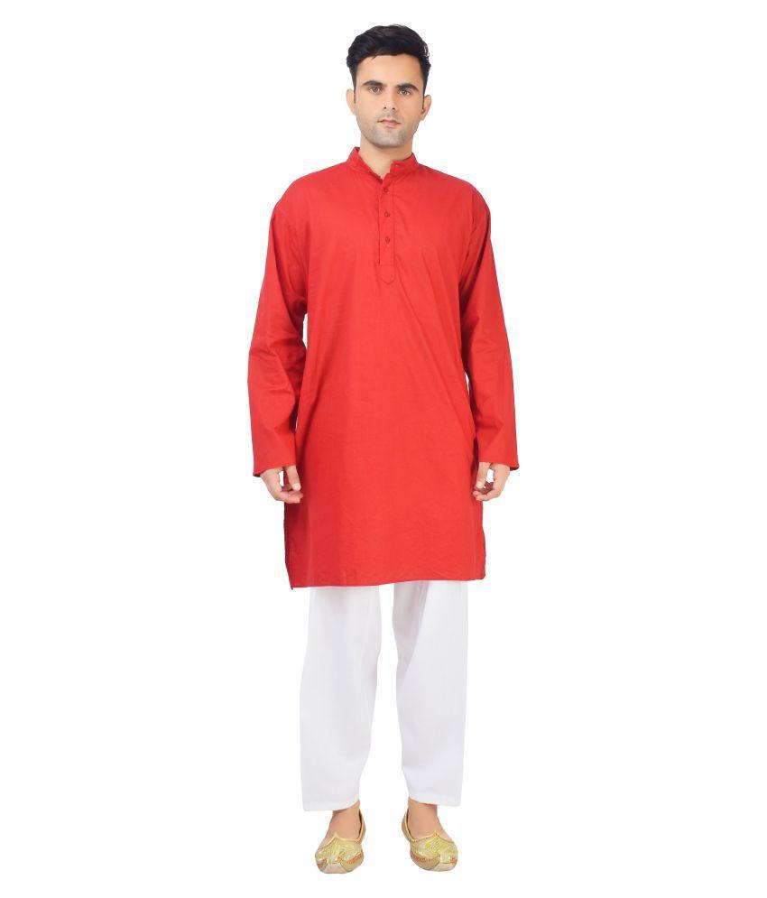 v oll Maroon Cotton Kurta Pyjama Set