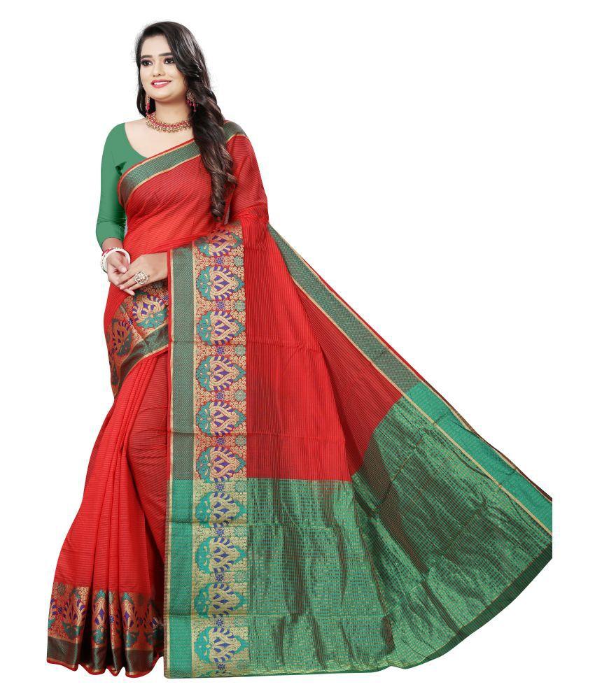 Pretty MMME Red Chanderi Saree