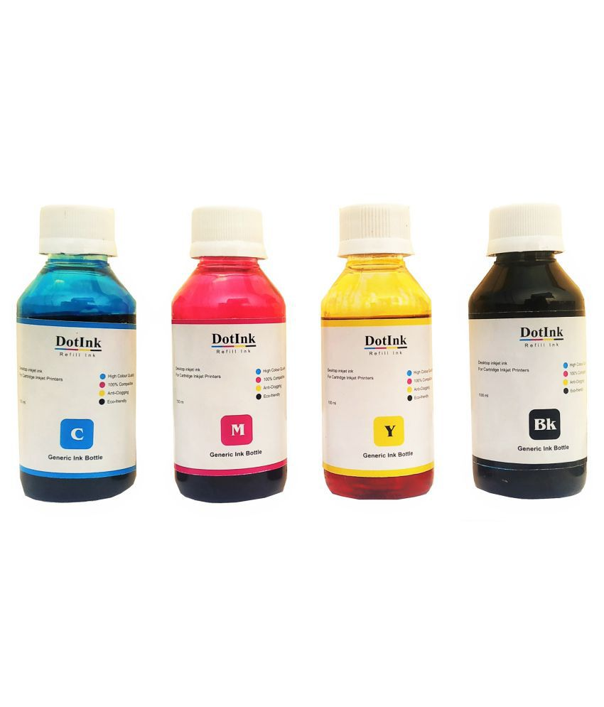 DOTINK Refill HP cartridge Multicolor Pack of 4 Ink bottle for Compatible Hp cartridge No. 21, 22, 27, 671, 678, 680 685, 703, 704, 802, 803, 818, 862