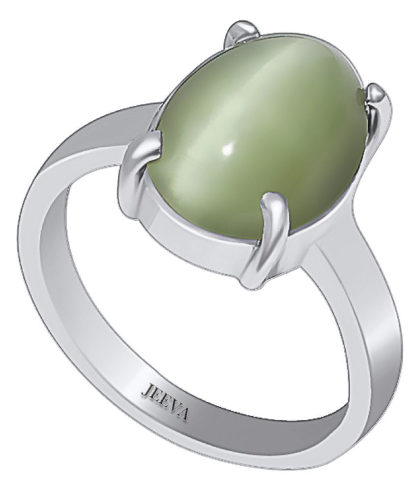 Jeeva Certified Cats Eye (Lehsuniya) 5.65 cts or 6.25ratti Bold Silver Ring for men and women