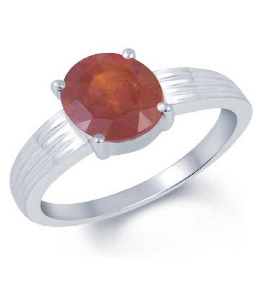 12 ratti Natural Lab certified Stone Silver Hessonite Ring  by Kundli Gems\n