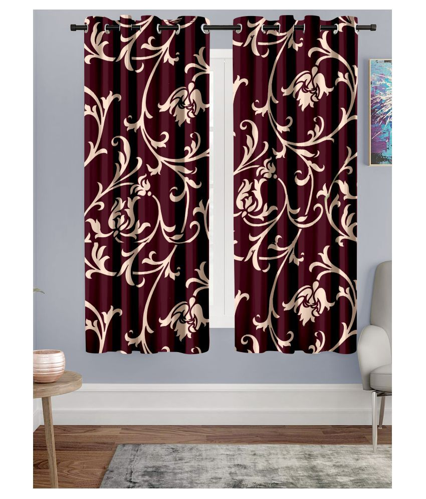 Hometique Set of 2 Window Semi-Transparent Eyelet Polyester Curtains Maroon