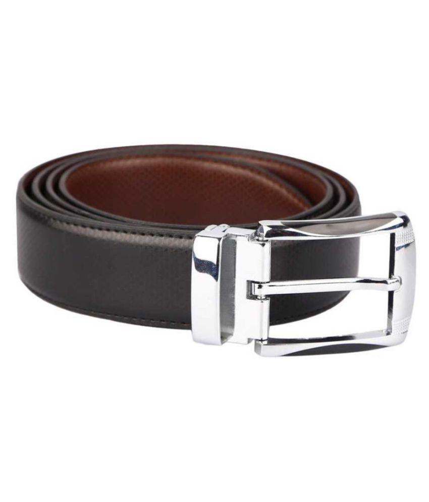 LYREM Black Faux Leather Casual Belt