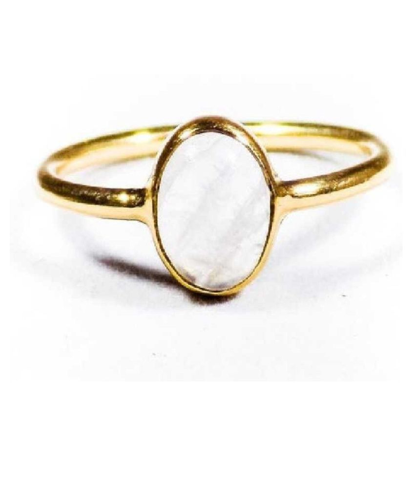 Natural MOONSTONE Stone Lab Certified Gold Plated 3 Carat Adjustable Ring BY Ratan Bazaar