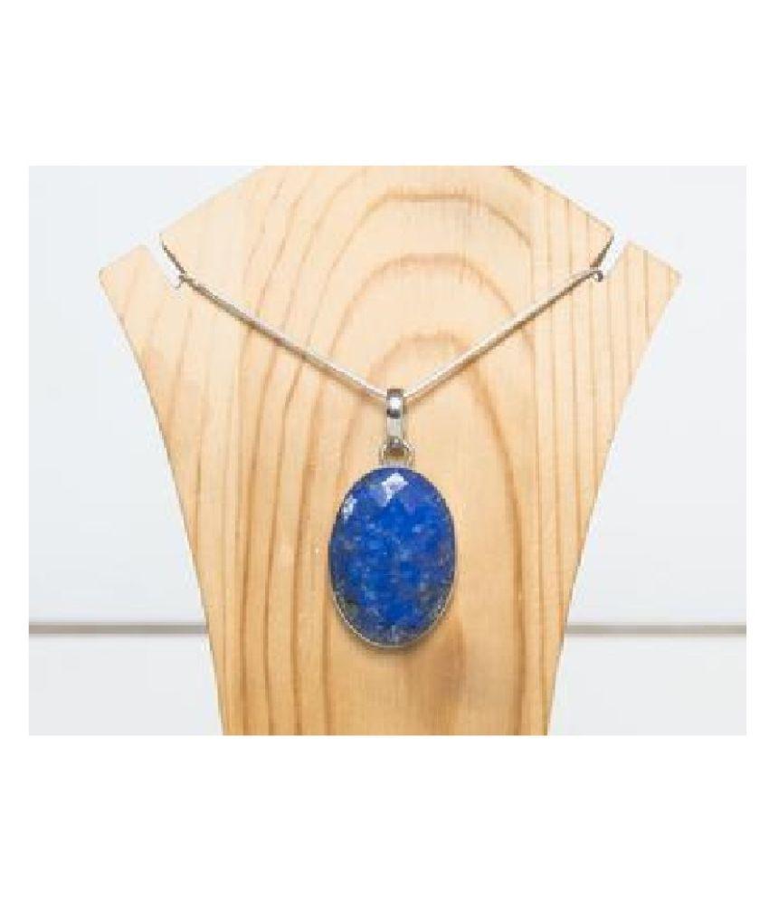 5 ratti stone pure lapis lazuli  silver Pendant for unisex by Kundli Gems\n