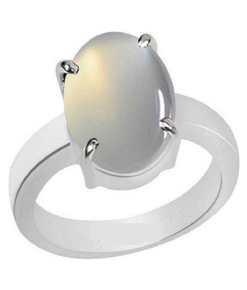 6.25 Ratti Lab Certified Stone 100% Original MOONSTONE  Silver Ring for unisex by Ratan Bazaar\n