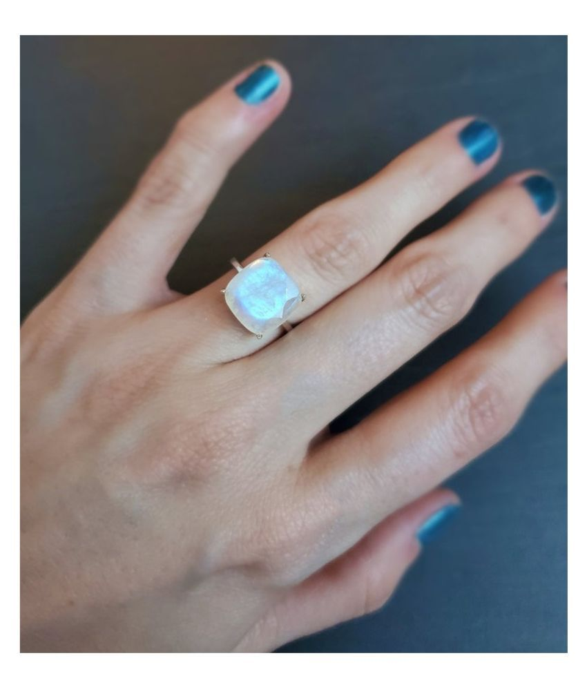 6.25 ratti stone pure MOONSTONE  silver Ring for unisex by Ratan Bazaar\n