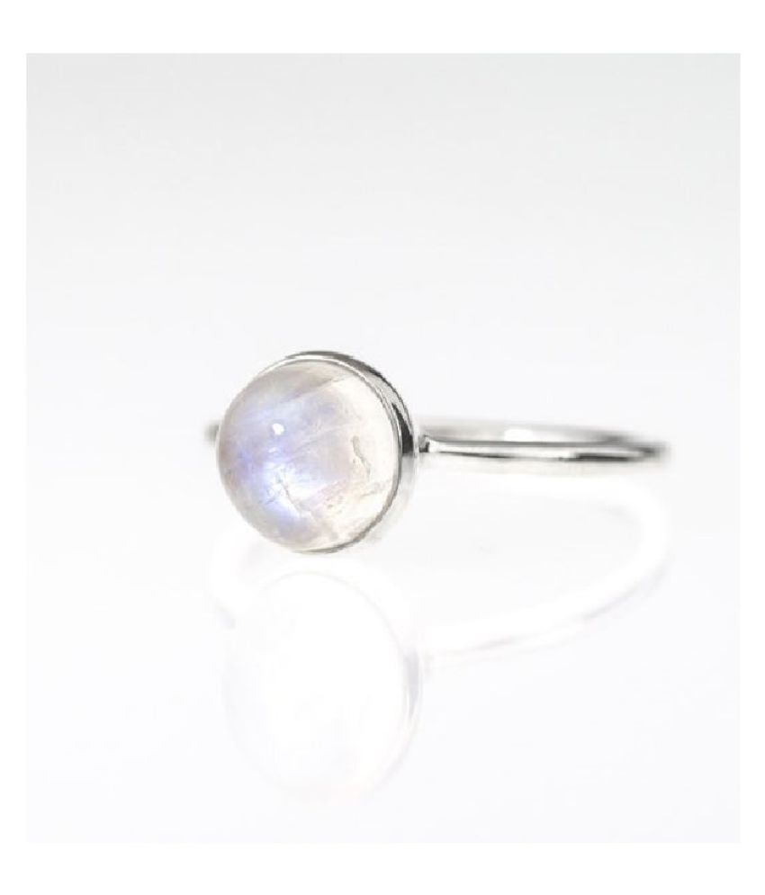 6.5 Ratti Lab Certified Stone 100% Original MOONSTONE  silver  Ring for unisex by Ratan Bazaar\n