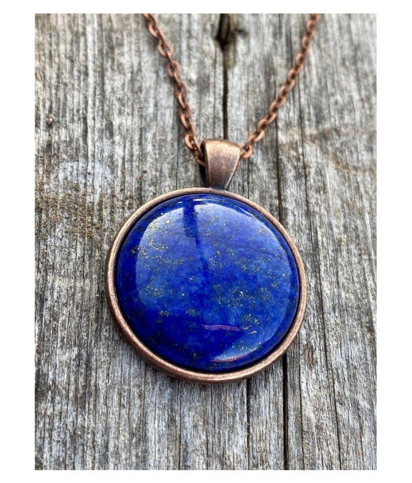 Natural Lapis lazuli Stone Lab Certified gold plated 5 Carat  Pendant BY Kundli Gems