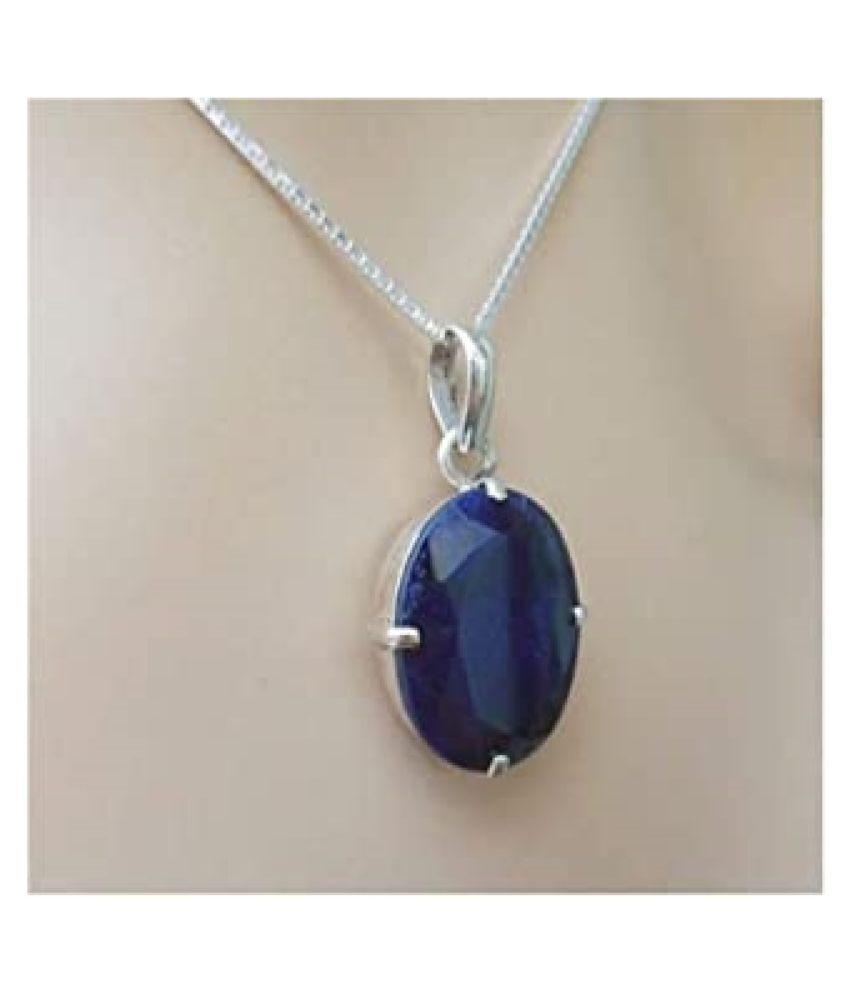 Natural lapis lazuli  4 Carat silver Pendant by  Kundli Gems\n