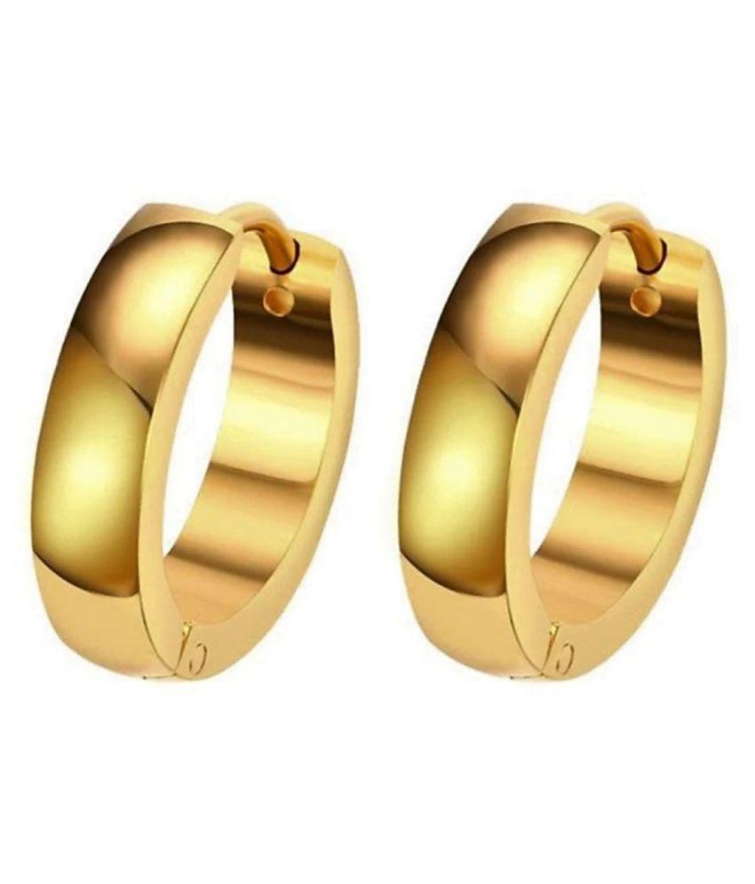 Trendy Unisex Pierced Gold Earrings for Girls/Boys/Men/Women Stainless Steel Chandbali Earring