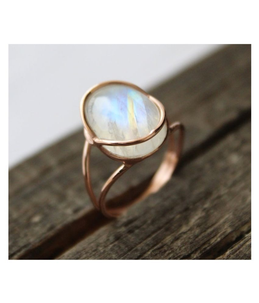 7.25 ratti Stone 100% Natural MOONSTONE  Gold Plated Ring by  Ratan Bazaar\n