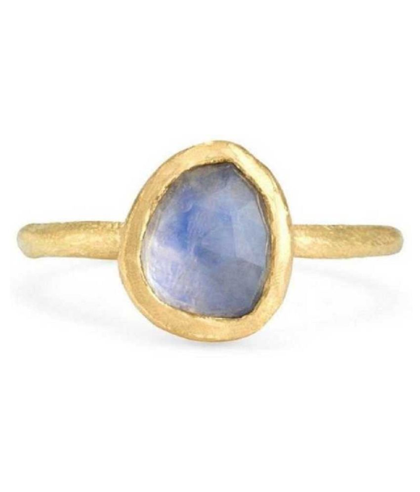 MOONSTONE Natural & Unheated Stone  10 Ratti MOONSTONE gold plated Ring by Ratan Bazaar