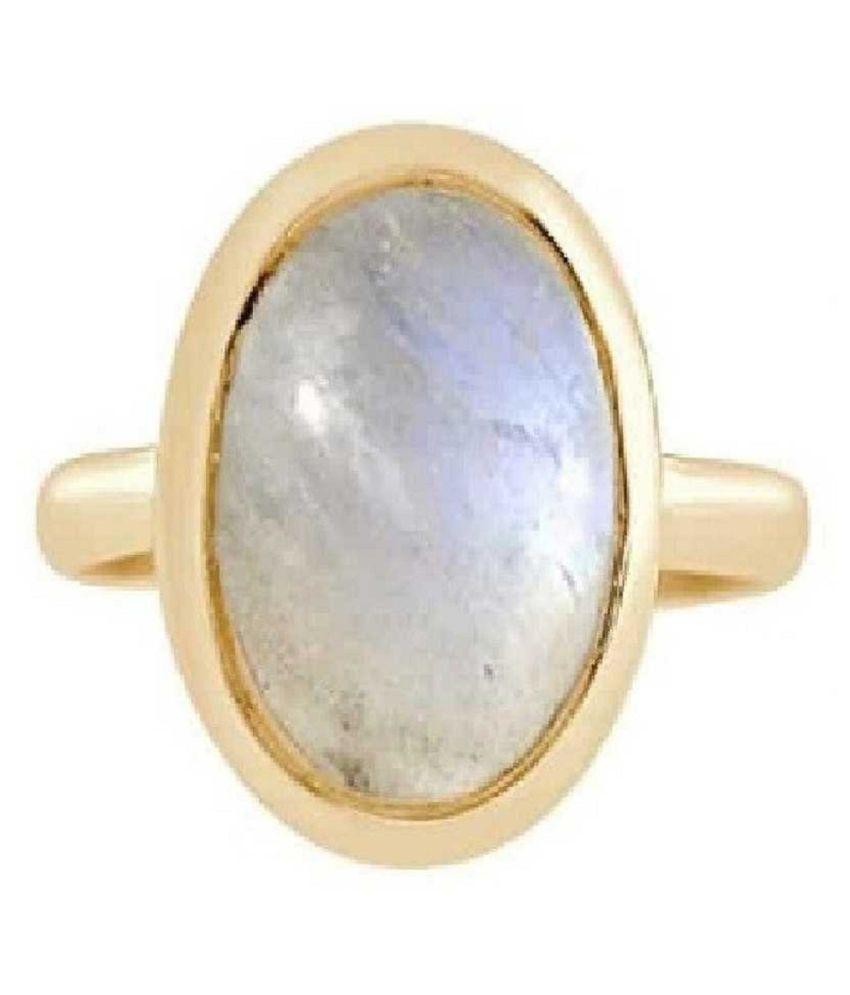 MOONSTONE Ring 10 Carat natural MOONSTONE Gold Plated Ring by Ratan Bazaar