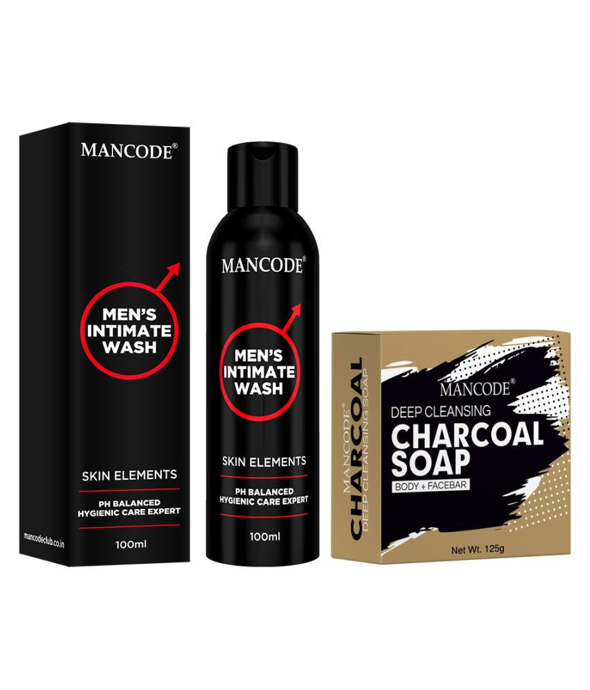 Mancode Intimate Wash & Charcoal Soap 200 g Pack of 2