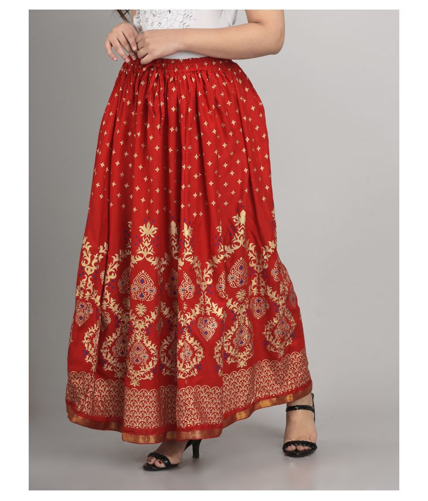 Girly Girls Rayon A-Line Skirt - Red