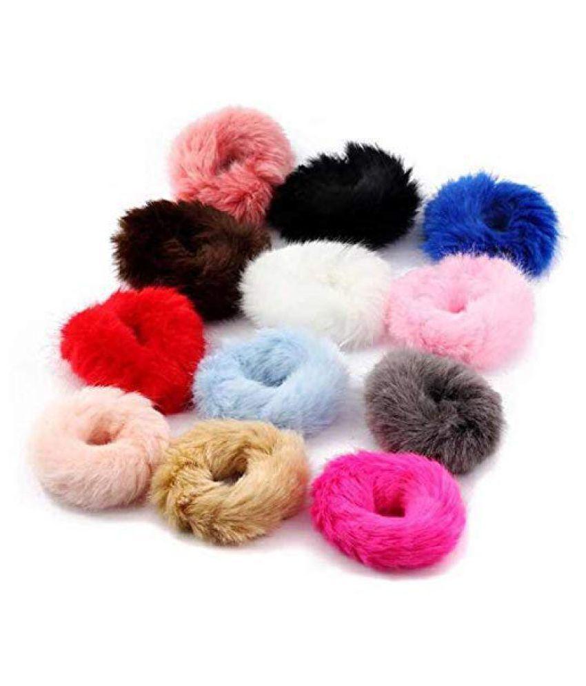 HFH  Fluffy Soft Fur Elastic Multicolour Hair Rubber Bands for Kids Girls Women (Pack of 5)