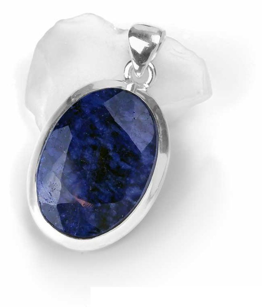 lapis lazuli  Pendant2.5 ratti  Stone Silver plated  for Men and Women by  Ratan Bazaar