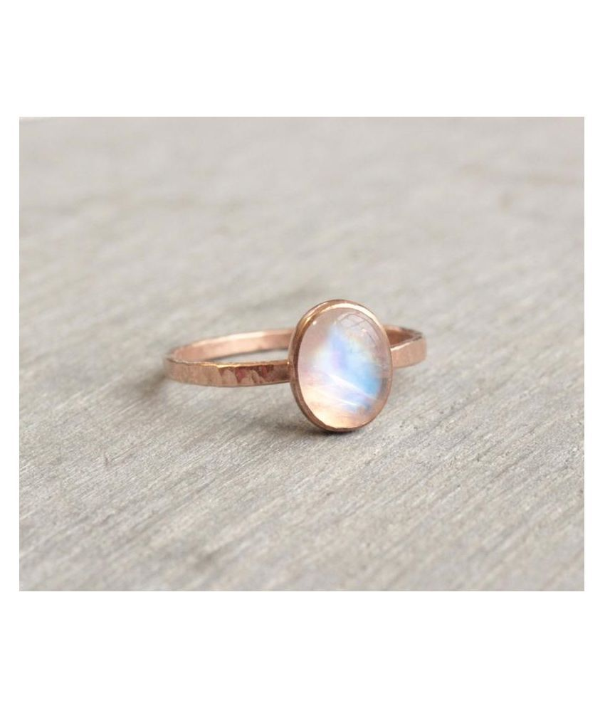 6 Carat Lab Certified  Gold Plated MOONSTONE   Ringfor unisex by Kundli Gems