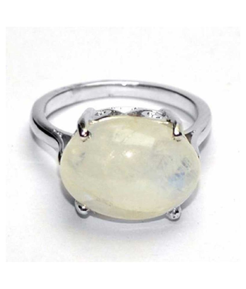 7 carat only MOONSTONE  Ring with Natural & Lab Certified Silver MOONSTONE  by Kundli Gems