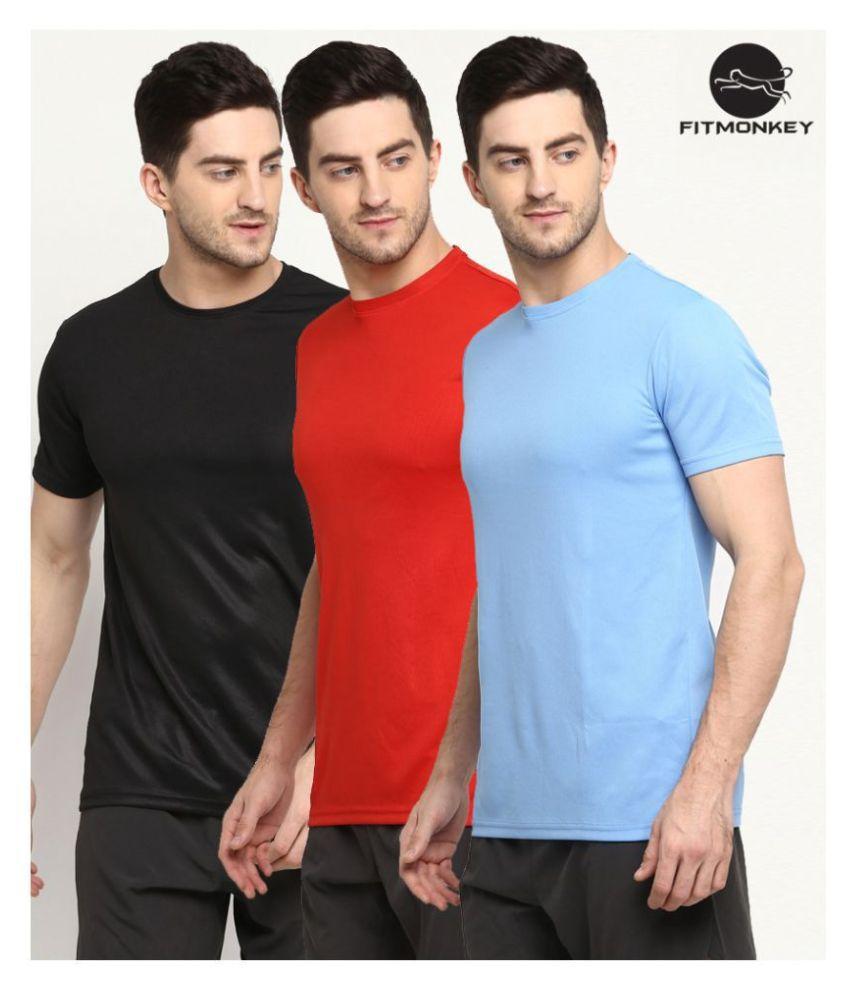 FITMonkey Black, Red & Sky Blue Polyester Regular Fit Sport T-Shirts for Men - Pack of 3