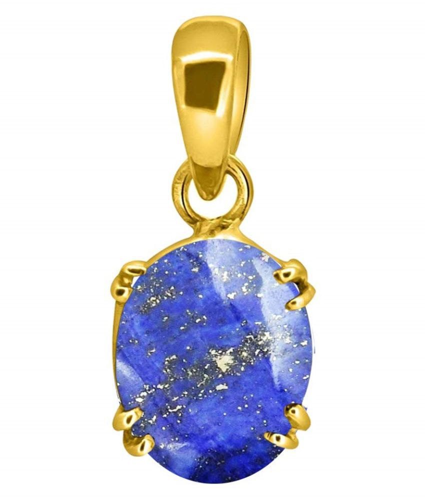 Natural Lapis lazuli Stone Lab Certified Silver 11.25 Carat  Pendant gold plated BY kundli