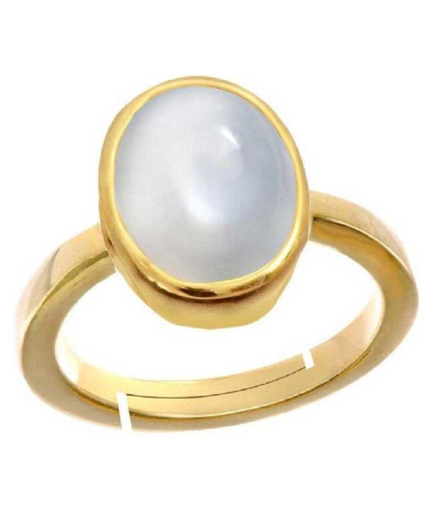 Original Natural Certified MOONSTONE 8.5 Carat Adjustable gold plated Ringby Kundli Gems