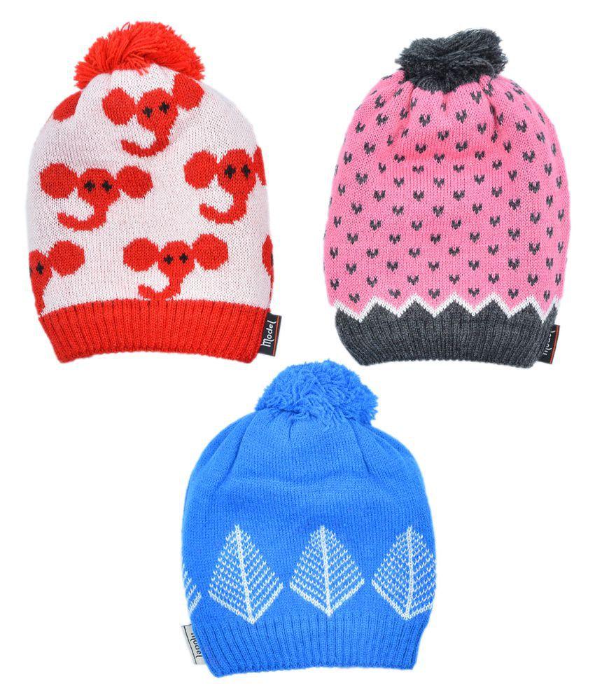 Model Kids Unisex 100% Acrylic Wool with Fleece Lining  Winter Wear Cap Multi Color