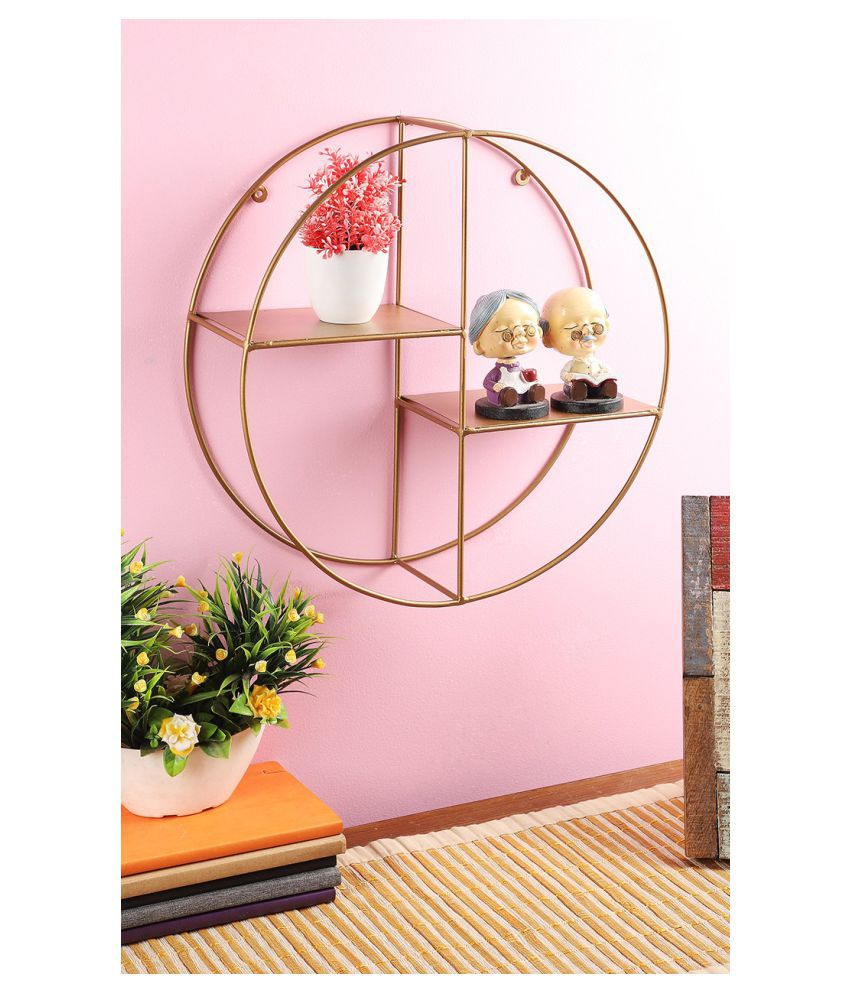 Home Sparkle Living Room Home Decor Round Floating Wall Mounted Partition Iron Wall Shelf  Gold
