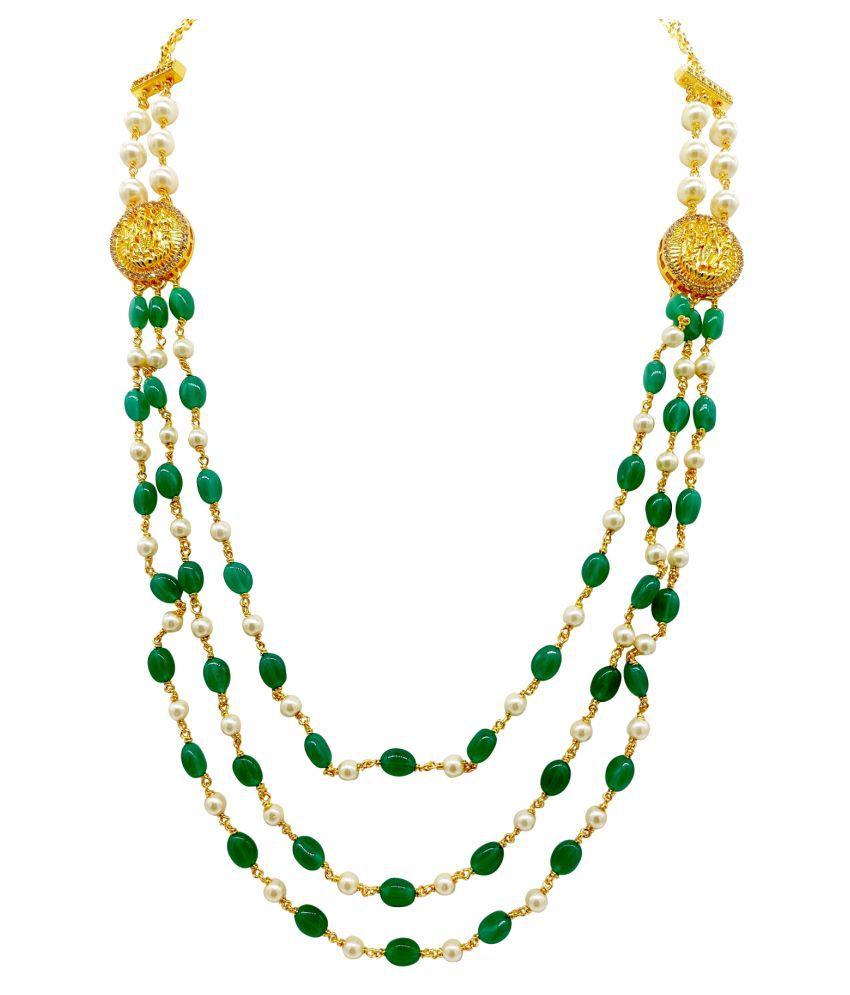 Maha Gauri Alloy Green Choker Designer Gold Plated Necklaces Set