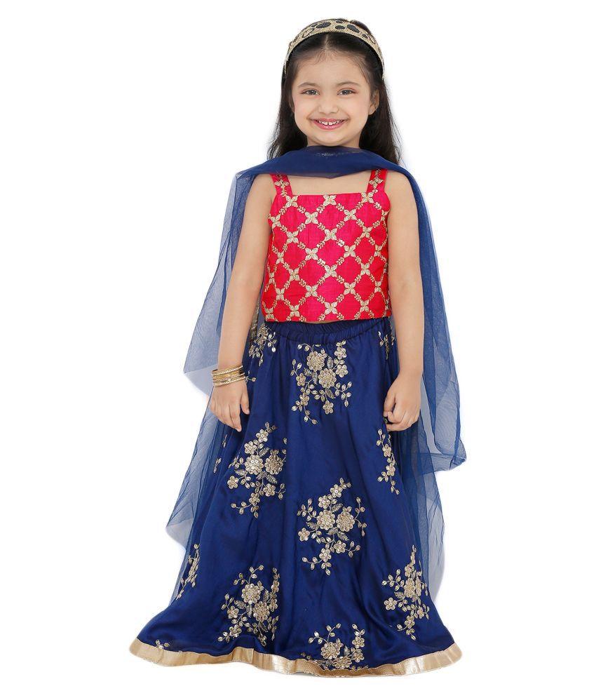 Salwar Studio Kid's Navy Blue Poly Silk Readymade Lehenga choli