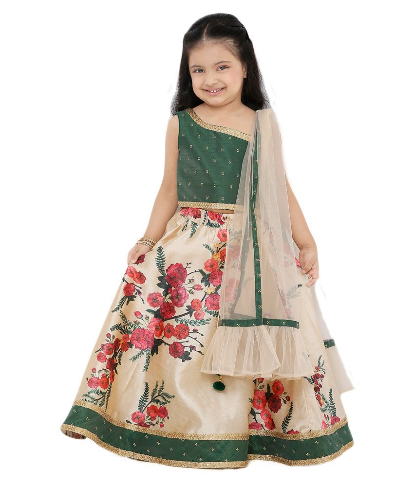 Salwar Studio Kid's Off White Printed Silk Readymade Lehenga choli