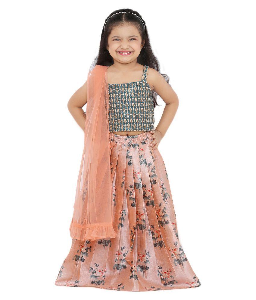 Salwar Studio Kid's Peach Printed Silk Readymade Lehenga choli