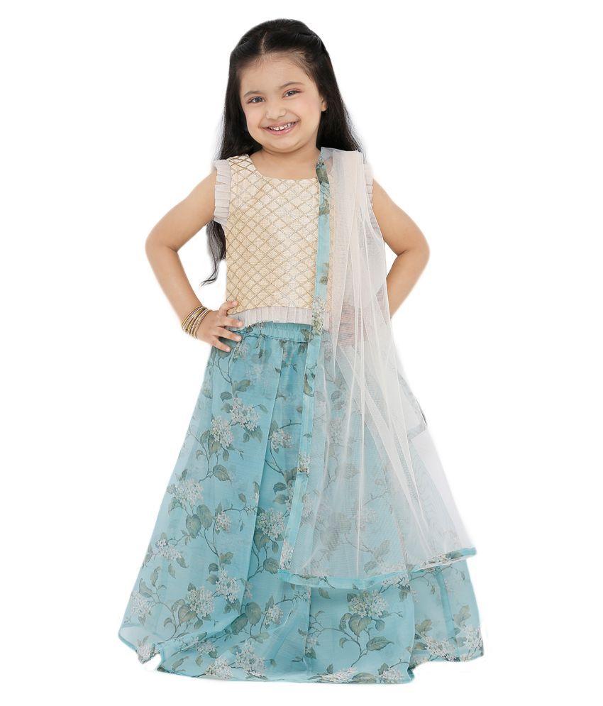 Salwar Studio Kid's Sky Blue Organza Readymade Lehenga choli