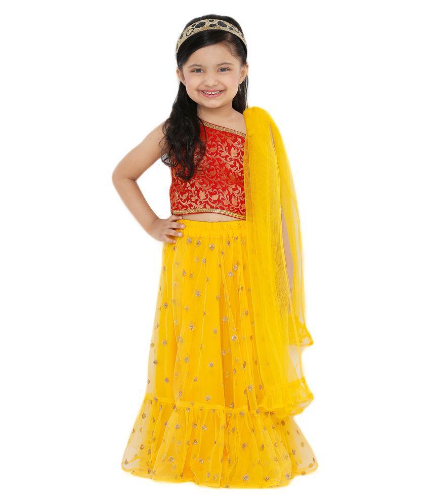 Salwar Studio Kid's Yellow Net Readymade Lehenga choli