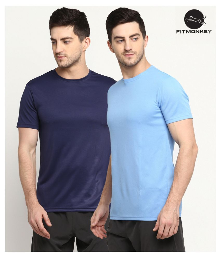 FITMonkey Multi Polyester Polo T-Shirt Pack of 2