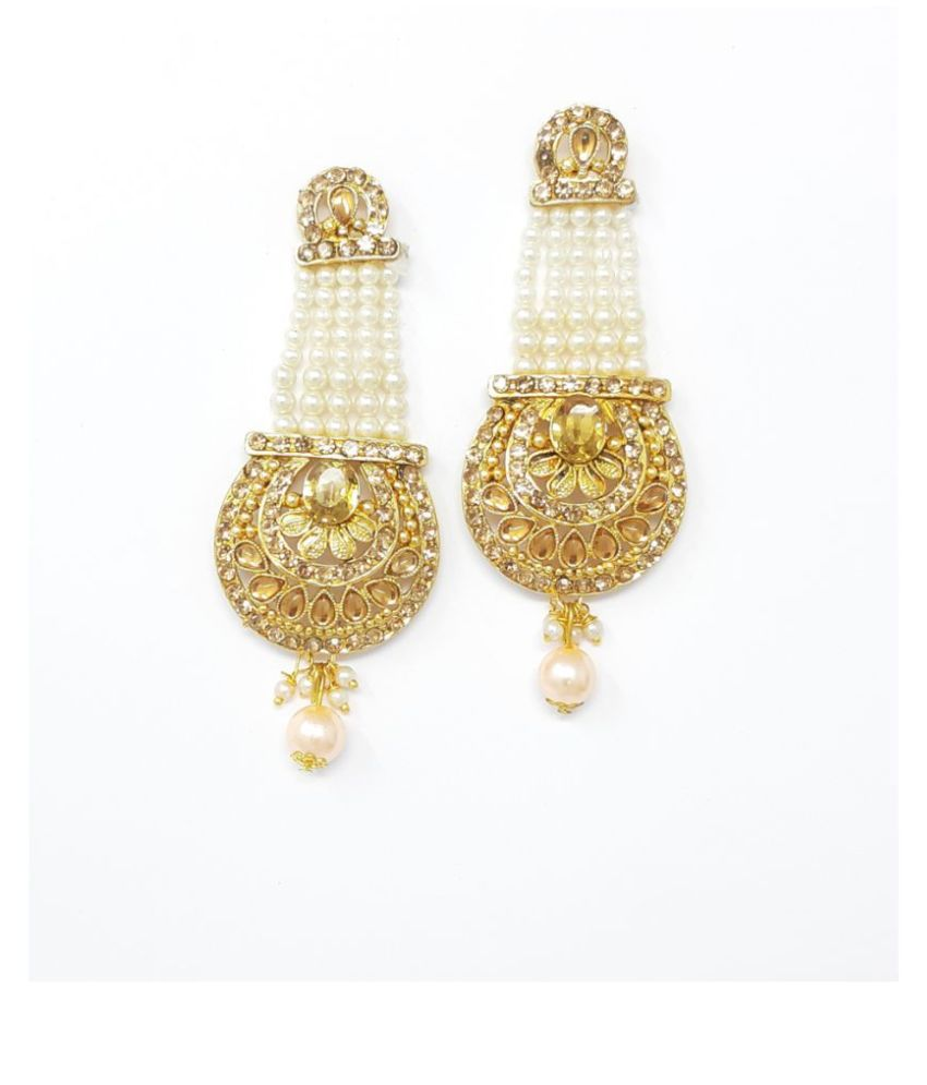 Jaishree Jewels Golden Stone MultiString White Beads Earrings for Women and Girls