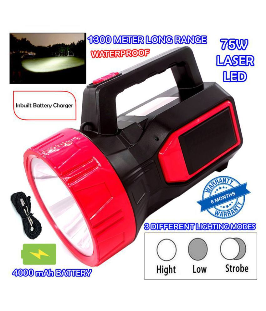 P Powerful 3 Mode 1300 Meter Range Rechargeable Waterproof LED ABS Body Security Above 50W Flashlight Torch Outdoor Search Light - Pack of 1