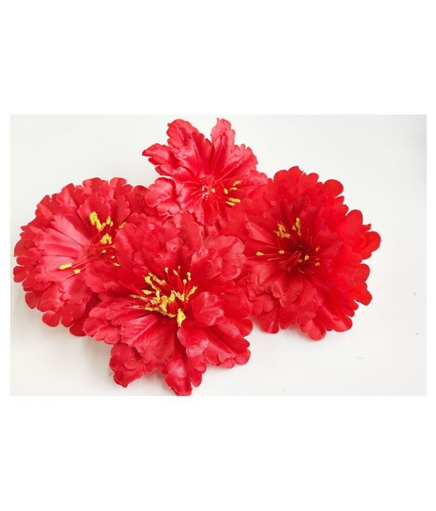 12pcs Red Color Artificial Flowers for Diwali & Room Decoration
