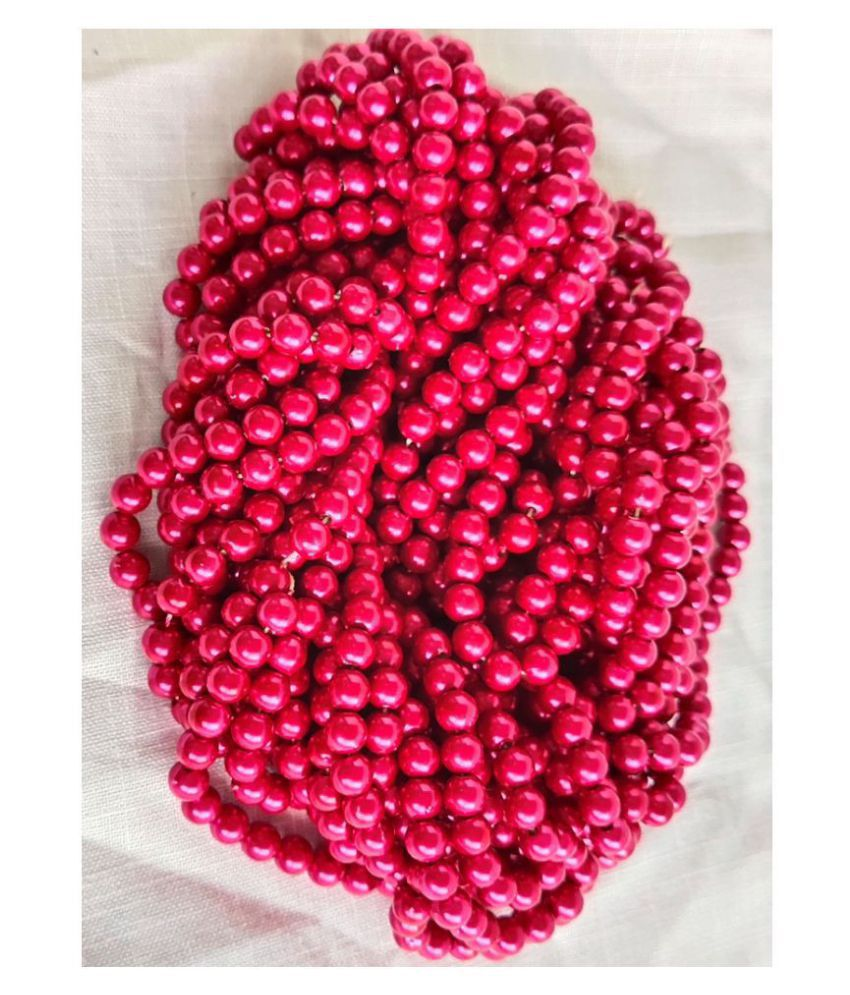 200pcs Round Color Beads for Jewellery Making & Embroidery (Beat Red, 6mm)