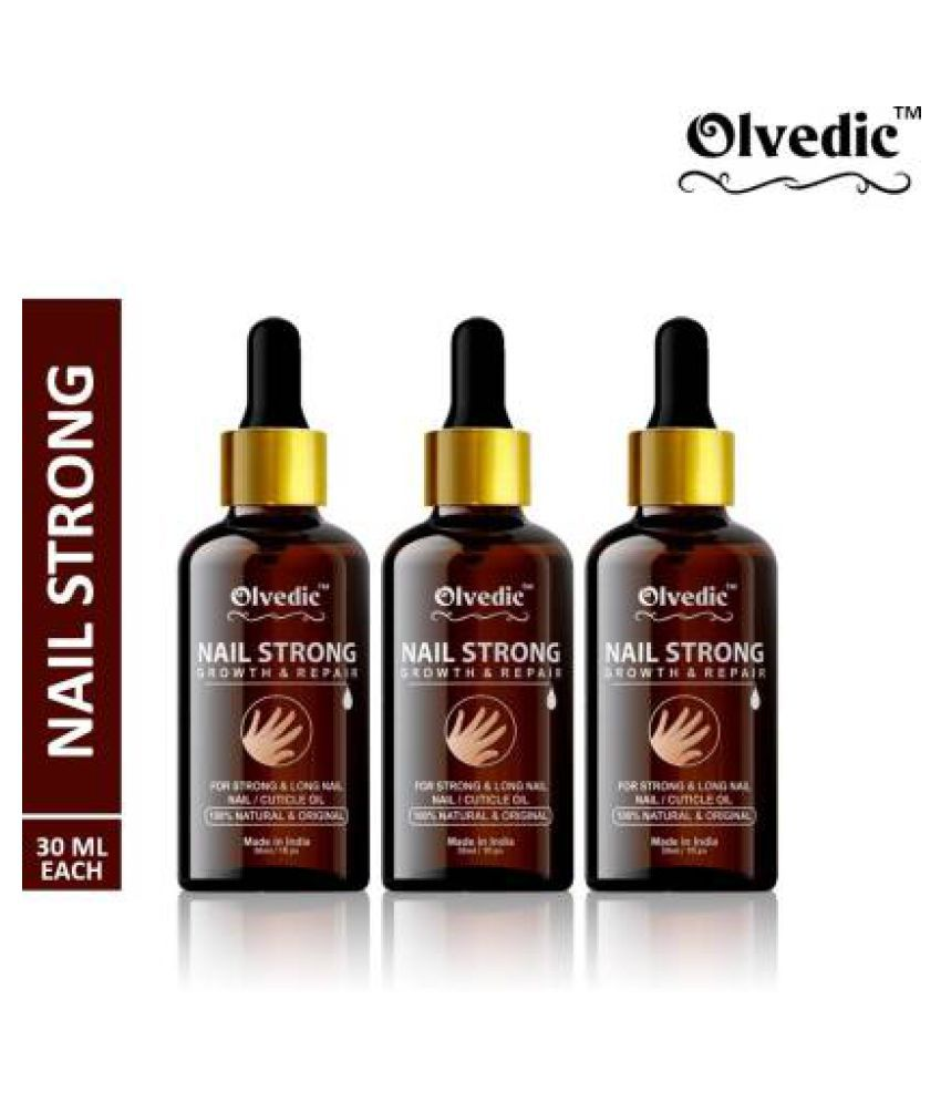 olvedic Nails Strong Oil For Cuticle Care, Nail Polish Yellow Glossy Pack of 3 90 mL