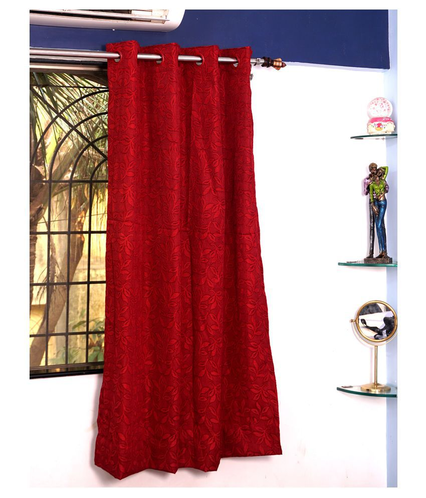 PardaOnline Single Window Semi-Transparent Eyelet Polyester Curtains Red